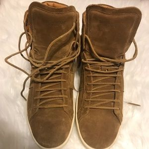 fbb6c12ff99 Yves Saint Laurent Shoes - YSL High Top Suede Fringe Sneaker Tan Size 41